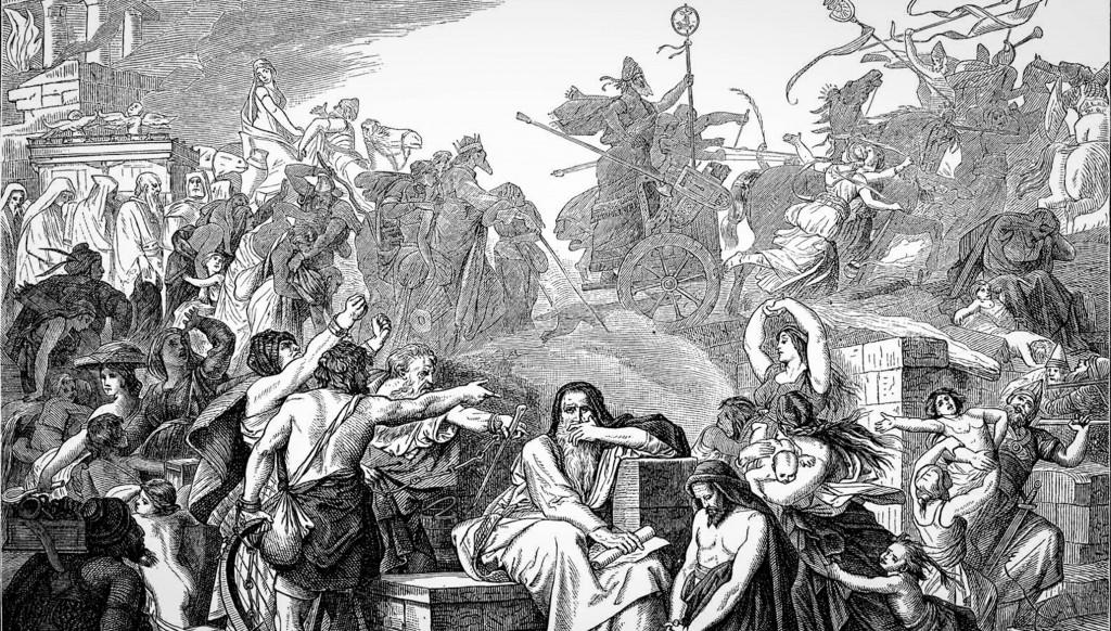 Гравюра по мотивам картины Эдуарда Бендемана «Вавилонское изгнание»