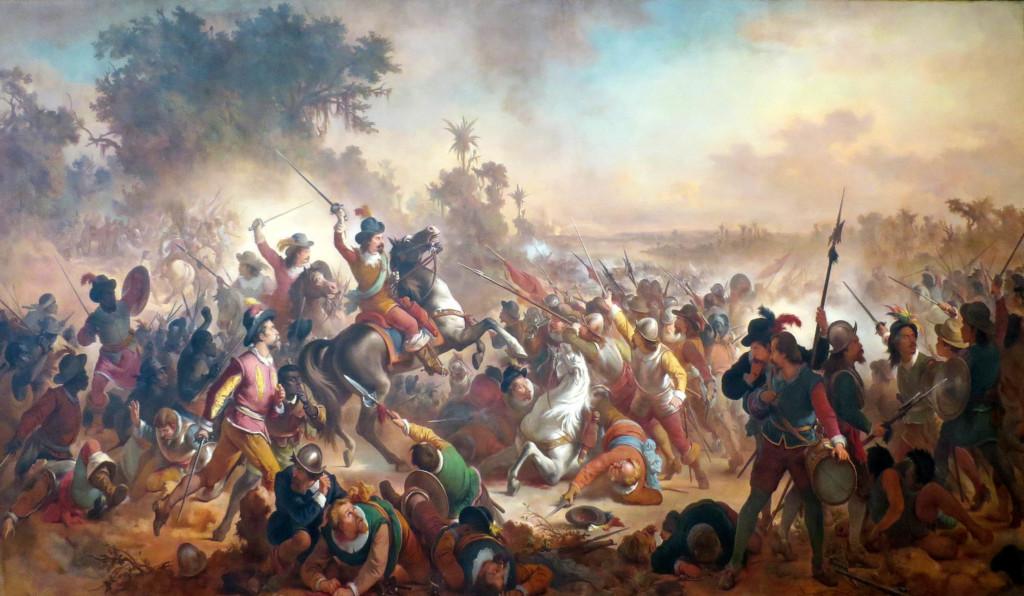 Территории, оккупированные голландцами, пользовались свободой вероисповедания, но это закончилось с португальской оккупацией. Битва при Гуаррапес, 1758 год. Национальный музей Рио-де- Жанейро