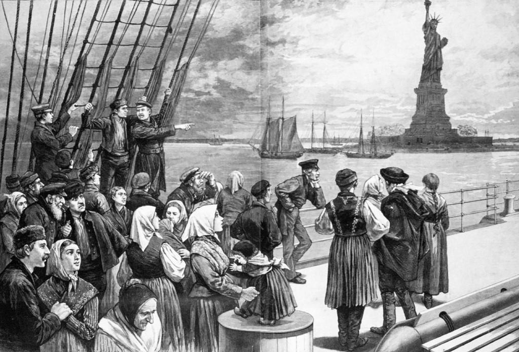 Иммигранты на корабле. В числе прибывших в США из Европы в 1881‐ 1914 годах было более двух миллионов евреев, 1887 год